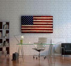Large Distressed American Flag, Distressed Wood, USA, Rustic Wall Art