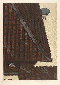 UNNO Mitsuhiro(海野 光弘 Japanese,1939-1979)     Rain at Yonakuni, 1975, woodblock print