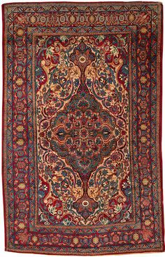 Kerman rug South Central Persia Circa 1920 size approximately 4ft. 6in. x 7ft.