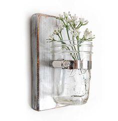 shabby vase wooden wall single vase mason jar floral Metallic Silver-  for the bathroom