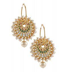 Silver Pearl Crystal Floral Hoops