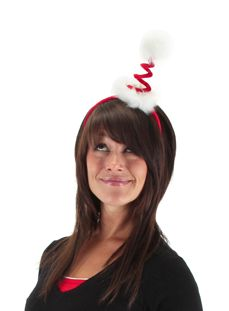 Add a twist to the traditional Santa hat with the springy Santa headband. With the traditional red and white color theme, the headband twists into a white fur ball. Great for Christmas parties, plays or pageants.
