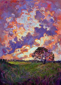 Burst of impressionist color and impasto brush strokes capture the beauty of the outdoors, original oil by Erin Hanson