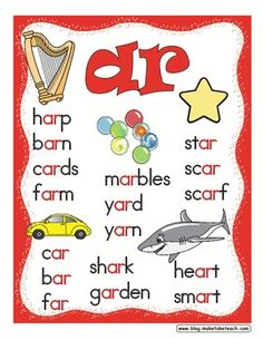 Free r-controlled vowels poster set