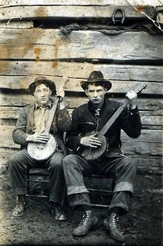 banjo men. old vintage photo.
