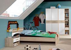 Jugendzimmer komplett Eiche Sägerau Alpinweiß 5691. Buy now at https://www.moebel-wohnbar.de/kinderzimmer-komplett-game-jugendzimmer-4-tlg-eiche-saegerau-weiss-5691.html