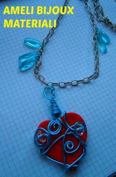 collana con cuore in fimo ''wire''