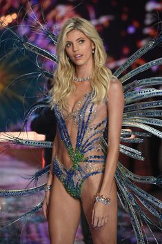 Model Devon Windsor from Missouri walks the runway during the 2015 Victoria's Secret Fashion Show at Lexington Avenue Armory on November 10, 2015 in New York City.