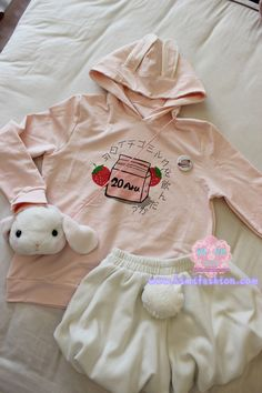 Strawberry milk rabbit hoodie japanese kawaii sweater Free shipping