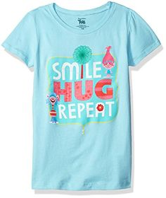 Trolls Girls Little Girls Movie Smile Hug Repeat Short Sleeve TShirt Cancun Large6X -- You can find more details by visiting the image link.Note:It is affiliate link to Amazon.