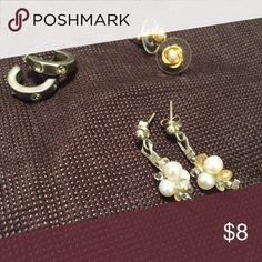 Bundle of 3 Earrings Silver rhinestone hoops, Pearl drop earrings, gold/pearl knot studs Jewelry Earrings