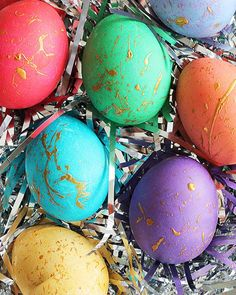 Brightly colored Easter eggs with a splash of gold!