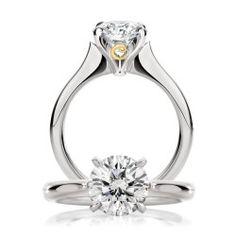 A classically beautiful 1.02ct round brilliant cut White Diamond Calleija Ring set in 18ct White Gold.