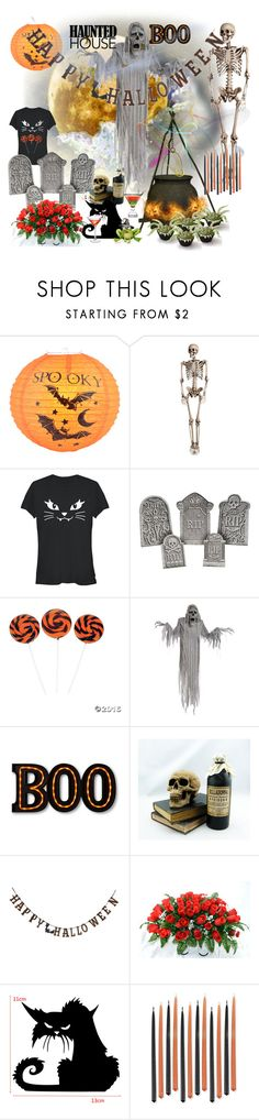 """haunted house party"" by ffendi ❤ liked on Polyvore featuring interior, interiors, interior design, home, home decor, interior decorating, Fifth Sun, Creative Co-op and Halloweenparty"