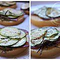 Galettes de polenta magret de canard fumee -courgettes et parmesan
