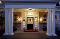 lighting, doorway, columns, topiaries