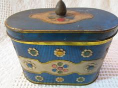 Vintage England Atomic Blue Tin Container by curlygirlboutique, $9.00