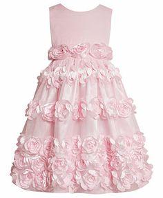 Bonnie Jean Girls Dress, Little Girls Satiny Rosette Flower Girl Dress - Kids Dresses & Dresswear - Macy's