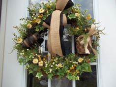 Primitive ~Bumblebees~ Door~Wall~  Wreath~Double Bow~Basket~ Teastained Daisies