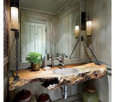 32 Rustic Bathroom Ideas Improve Home Sweet Home, Fill your house with things you adore. Decorating your house is a significant part making it feel like it's truly your abode. Lastly, have fun and mak. Rustic Bathroom Designs, Rustic Bathrooms, Wood Bathroom, Bathroom Ideas, Natural Bathroom, Bathroom Vanities, Master Bathroom, Bathroom Interior, Design Bathroom