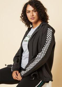 4aa3bdb7994 Plus Black Checkerboard Sleeve Windbreaker