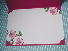 inside view of handmade card ... like the large punched out corners ... Stippled Blossoms ... Stampin' Up!