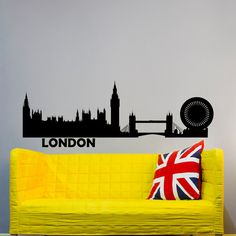 London Skyline Wall Decal City Silhouette Great Britain London Wall Decals Living Room Office Business College Dorm Wall Art Home Decor