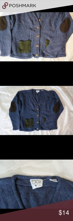 Anthropologie Blue Sweater Awesome sweater with trendy elbow patches. Material: Anthropologie Sweaters Cardigans