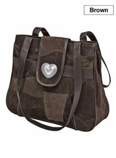 SUEDE HAND BAG - HEART ACCENT