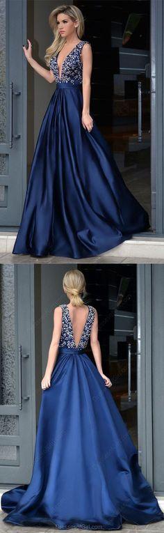 A-line V-neck Beaded Bodice Navy Blue Satin Long Prom Dresses Prom Dresses Navy Prom Dresses V-neck Prom Dresses A-Line Prom Dresses Prom Dresses Blue Prom Dresses Long Royal Blue Prom Dresses, Beaded Prom Dress, Backless Prom Dresses, A Line Prom Dresses, Cheap Prom Dresses, Evening Dresses, Formal Dresses, Dress Prom, Pageant Dresses