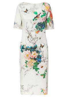 Multicolor Peony Flowers Little Bird Print Cotton Dress