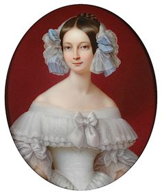 Duchesse d'Orleans, nee Duchess Helen of Mecklenburg-Schwerin, wife of Ferdinand Philippe of Orleans, son of King Louis Philippe I. They had 2 sons.  portrait c.1842 presumably before her husband's death that year. Nicolas-Marie Moriot