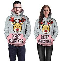 6b60244a13dd1 Ugly Hoodie and Sweaters: Tops Sweatshirts for Women Hoodie Pullover,Couples  Christmas Antler Print