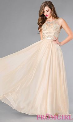 Image of beaded-bodice champagne chiffon long prom dress. Style: DQ-8736-v Front Image