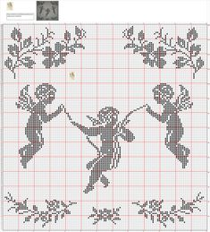 anges Stitch And Angel, Cross Stitch Angels, Just Cross Stitch, Cross Stitch Heart, Filet Crochet Charts, Crochet Diagram, Crochet Stitches, Cross Stitch Embroidery, Embroidery Patterns