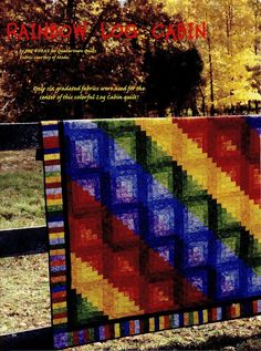 "Rainbow Log Cabin Finished Size -62""x79-1/2"" pattern only in Crafts, Sewing & Fabric, Quilting 