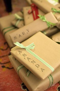 Stamped wrapping - cheap, and as long as I have supply of brown/plain paper, I'm good!