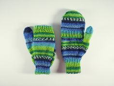 Double Mitts are normal mittens with a flip top for when you need to be able to use your fingers. They are knitted in the round and different sizes can be made from the same pattern by varying the weight of the yarn used. Measurements are given for three sizes of mitts, knitted with 4 ply, DK and aran yarns.