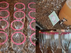 Finishing touches - pink sugar-rimmed mimosa glasses.  FUN!