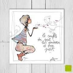 Le souffle du vent les amènera à bon port ... - Carte postale illustrée par Myra Vienne - www.editionsdecortil.com