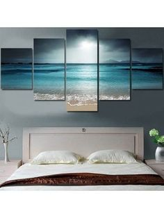 Unframed Sea Wave and Beach Pattern Canvas Paintings