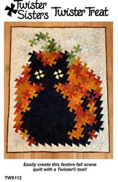 Twister Treat Cat & Pumpkin Pattern from Twister Sisters is scary cat quilt with a pumpkin in the background. Halloween Quilts, Halloween Cat, Twister Sister, Lap Quilt Patterns, Sewing Patterns, Quilting Ideas, Flick Flack, Twister Quilts, Scary Cat