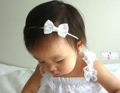Baby Headbandbaby Girl headbandPetite White Bow by HappyBOWtique