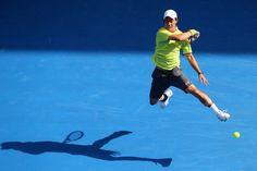 Kei Nishikori's flying forehand.