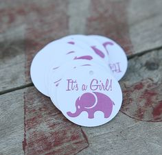 """Items similar to Elephant Fingernail Polish Tags - """"It's a Girl"""" on Etsy Baby Shower Tags, Elephant, Polish, Trending Outfits, Unique Jewelry, Handmade Gifts, Accessories, Etsy, Kid Craft Gifts"""