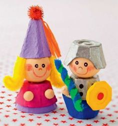 Egg carton craft for kids - toy knight and princess