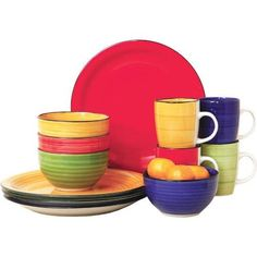 Gibson 12 Piece Color Vibes Stoneware Dinnerware Set for 4 Gibson  sc 1 st  Pinterest : polypropylene dinnerware - pezcame.com