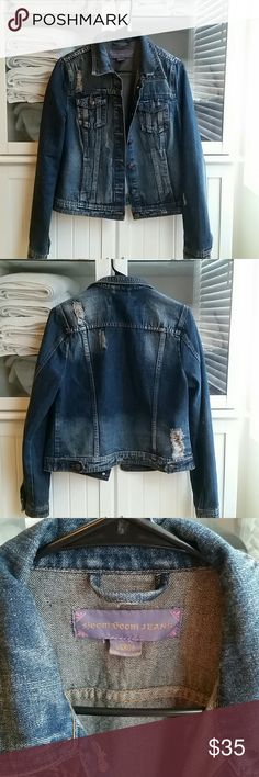 Distressed denim jacket Bought from Downeast clothing. Only worn a couple times, too big for me now. Perfect condition and perfect color to go with any outfit. Dress it up or down! boom boom jeans Jackets & Coats Jean Jackets