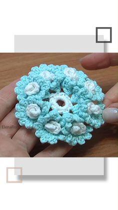 Crochet Poppy Free Pattern, Crochet Coaster Pattern, Crochet Flower Tutorial, Crochet Flowers, Crochet Ornament Patterns, Crochet Ornaments, Crochet Stitches Patterns, Spiral Crochet, Form Crochet