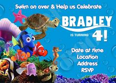 DIY PRINTABLE - Finding Nemo Photo Invitations $12.00